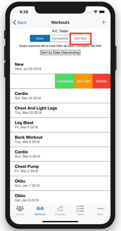 Personal Trainer Workout Tracker Improvements Additional Tab