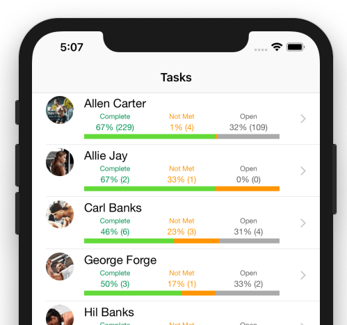 Fitness Coach Client Tracker Dashboard For Mobile Apps Tasks Screen