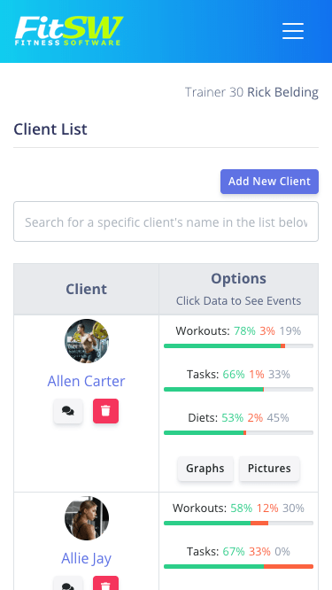 Personal Trainer Website Updates Fitness Client Dashboard Mobile View