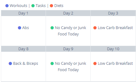 Multi-Day Program with Events like nutrition plans, workout plans, and tasks