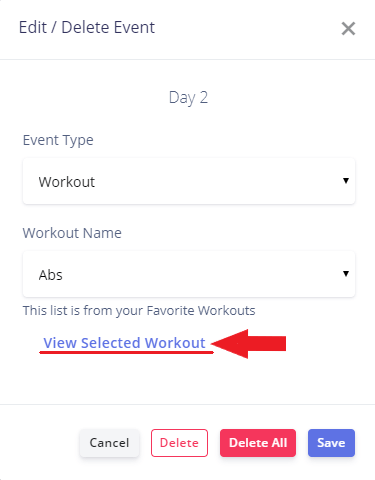 personal trainer workout program feature view selected workout