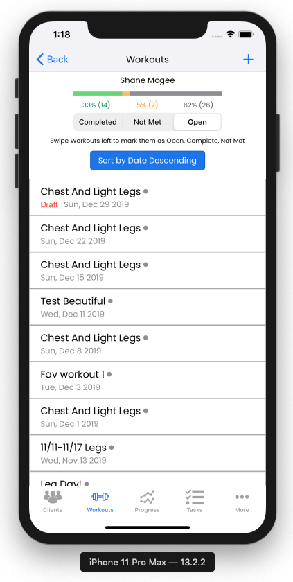 iOS App For Trainers - Draft Updates