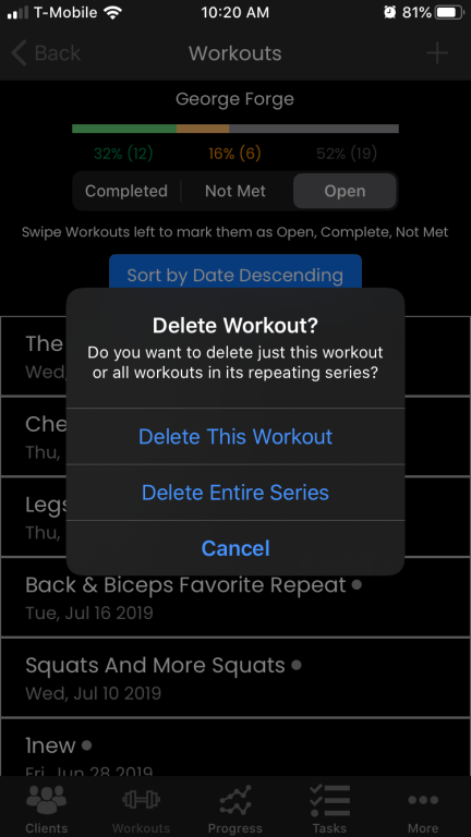 iOS personal training app delete series of events update