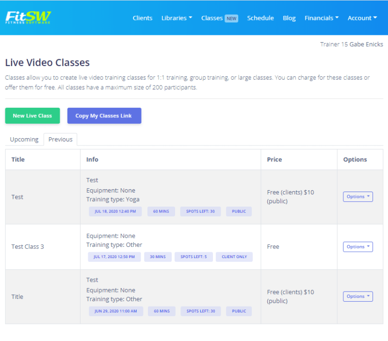 Live Video Classes list in FitSW