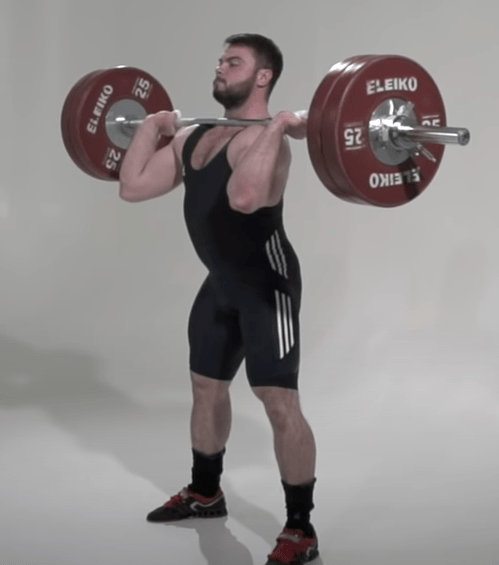 Standing straight up through the clean and jerk