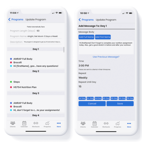 Programs Features - Auto messages on iOS Mockup