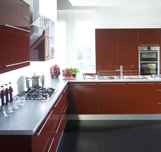 Kitchen Style  BURGUNDY  from Fitted Kitchens Direct