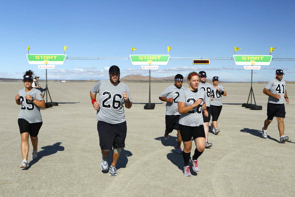 THE BIGGEST LOSER -- Episode 1212 -- Pictured: (l-r) Courtney Rainville, Patrick Ferrari, Ramon Medeiros, Jessica Limperet, Vinny Hickerson, Jennifer Rumple, John Rhode -- Photo by: Trae Patton/NBC