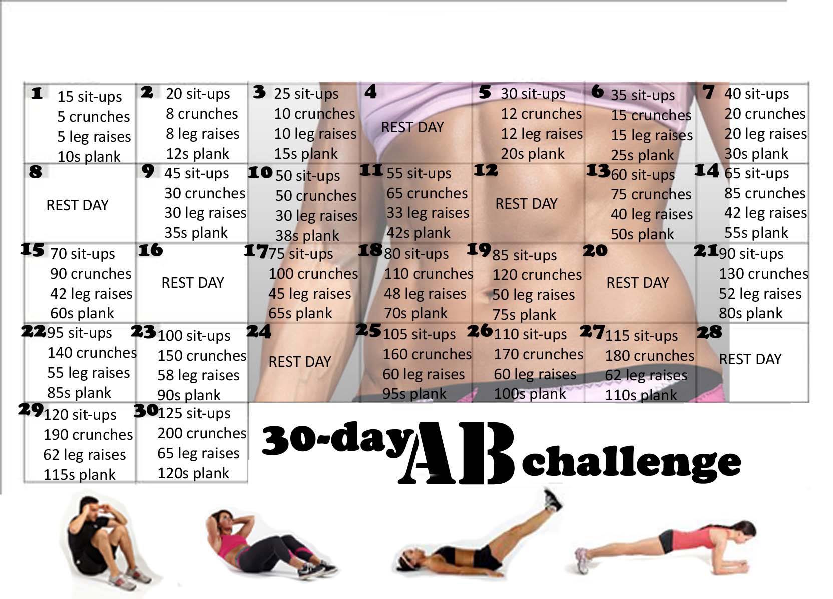 uitdaging: strakkere buik en armen in 30 dagen ab challenge