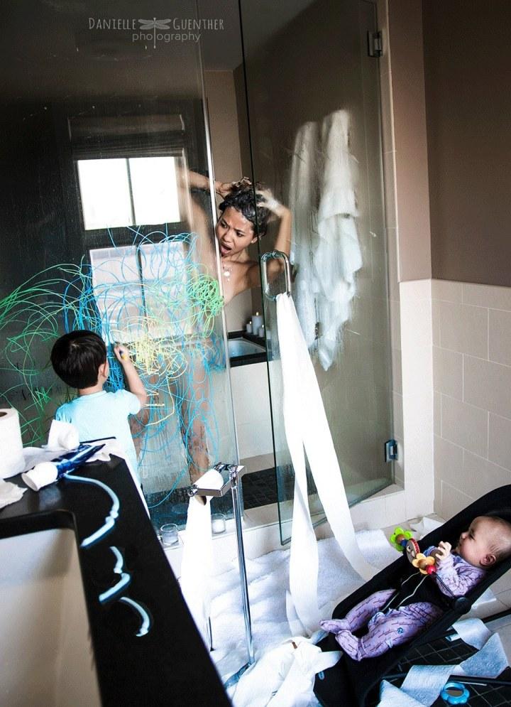 douchen met kinderen
