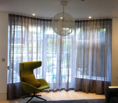 Cartridge Pleat Curtains Fitted to a Silent Gliss Track 3840