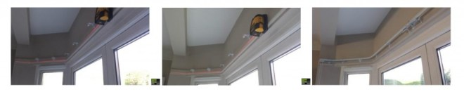 Corded metal track for bay window