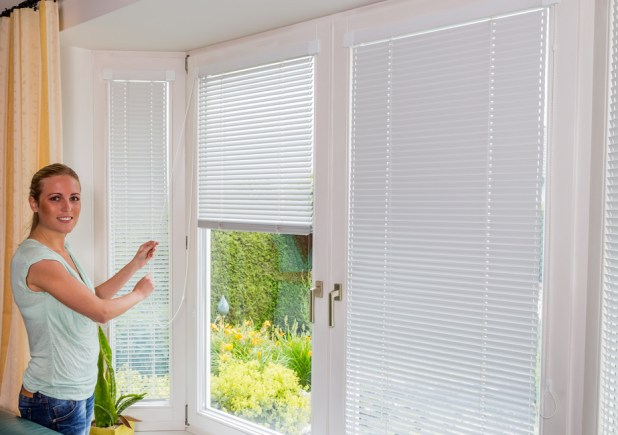 Window blind with dress curtain