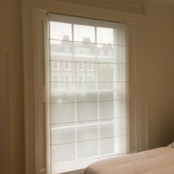 Linen voile roman blind fitted in Chelsea