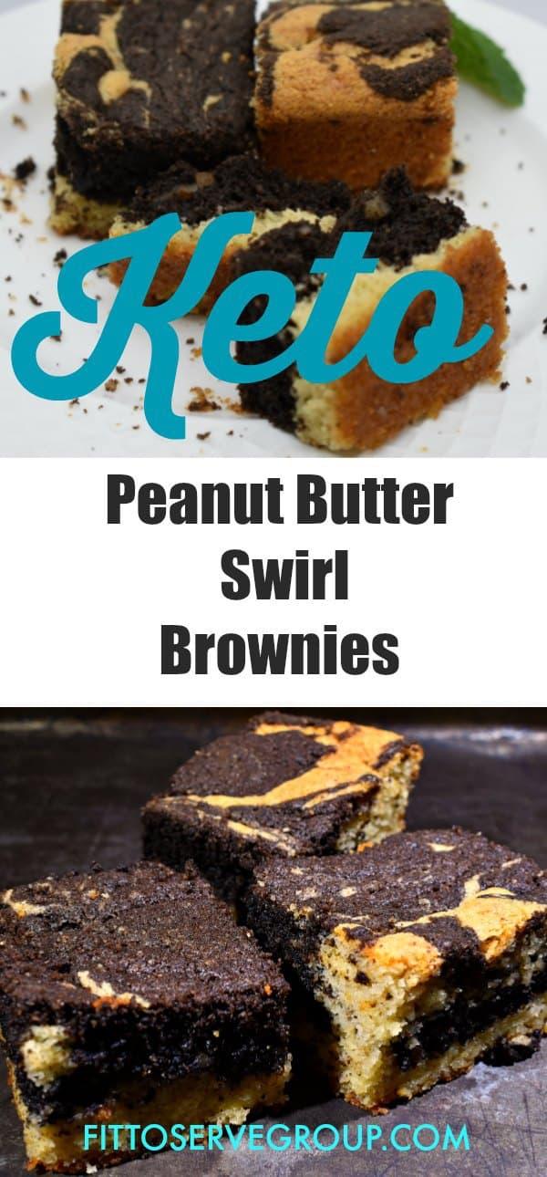 Keto Peanut Butter Swirl Brownies