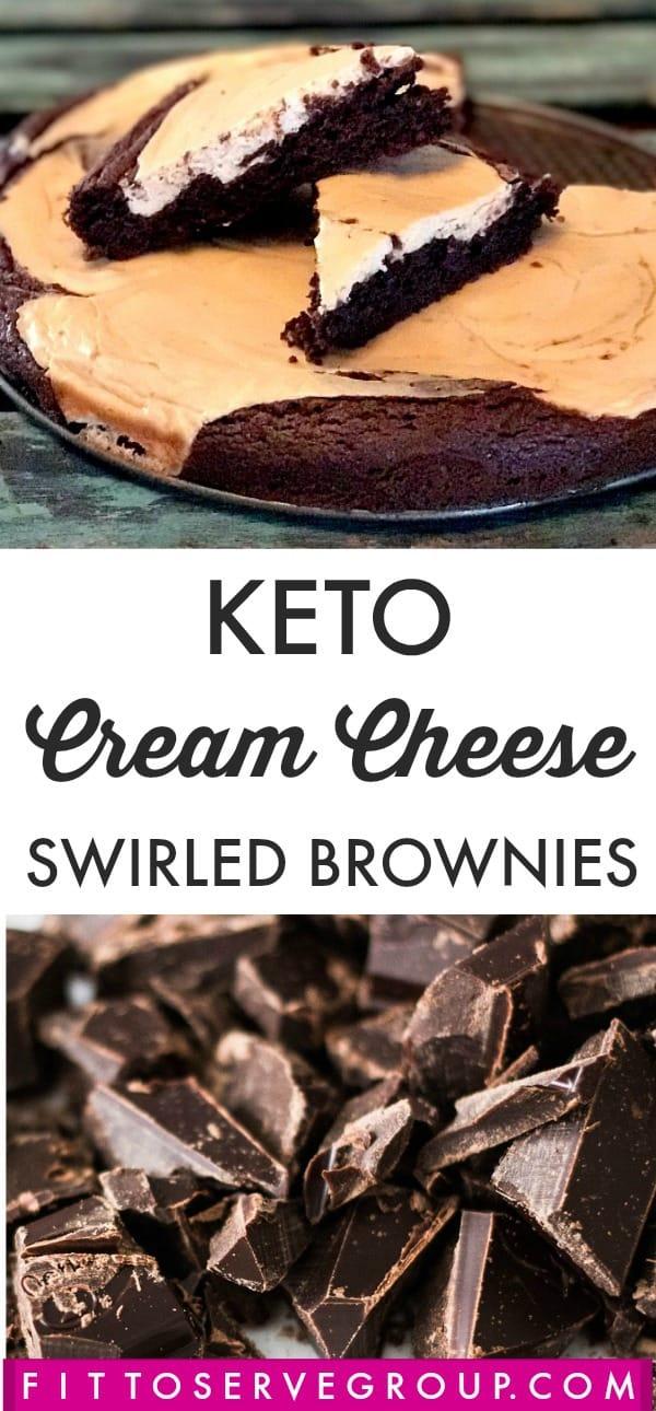 low carb Keto cream cheese swirled brownies