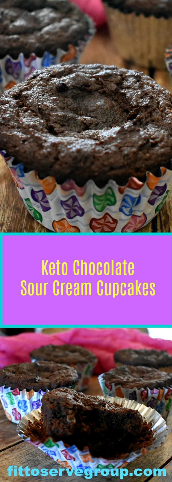 Keto Chocolate Sour Cream Cupcakes a rich low carb keto friendly chocolate cupcake recipe.
