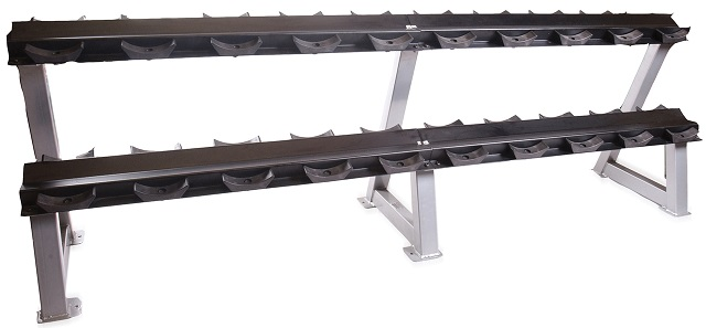 commercial two tier 95 dumbbell rack with saddles cap rk