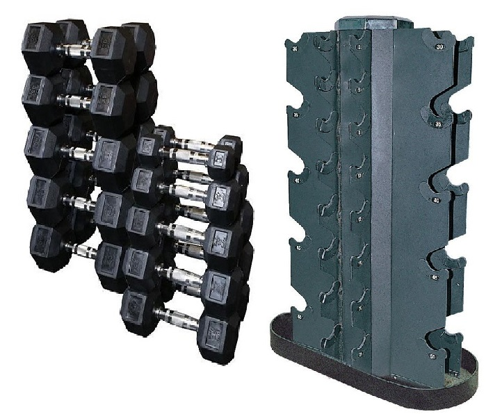 rubber hex head dumbbell set 5 50 with rack rb550r