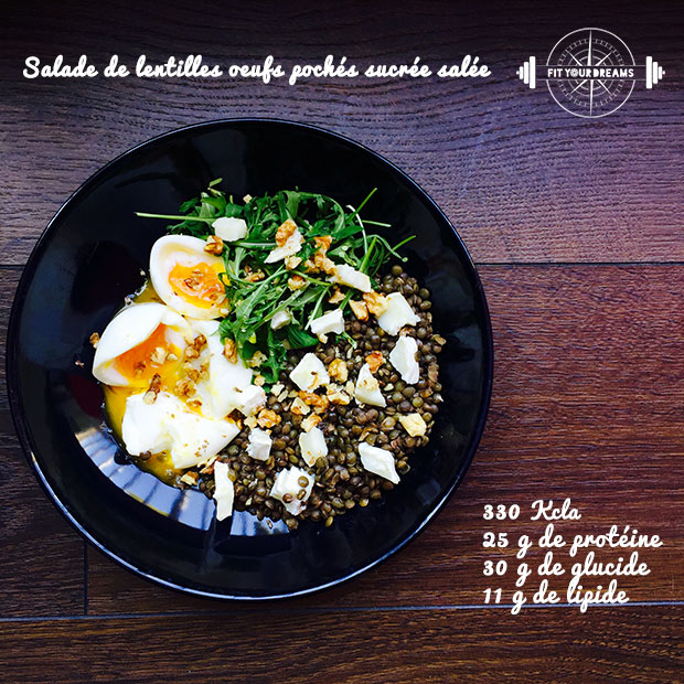 Salade de lentilles oeufs pochés