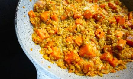 Dhal lentilles corail patates douces au curry