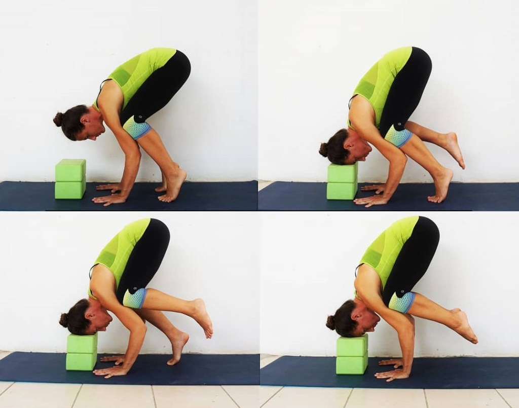 Gain Crow pose or Kakasana using two blocks stacked on top of each other for beginners - fitzabout