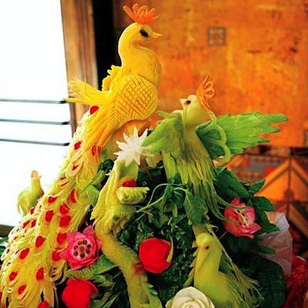 birds thanksgiving food fruit veggies decoration platters healthy ideas