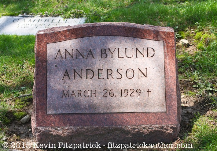 Anna B. Anderson gravestone in the N.V.A. Burial Grounds