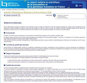 Activité d'Assistance Médicale à la Procréation 2009