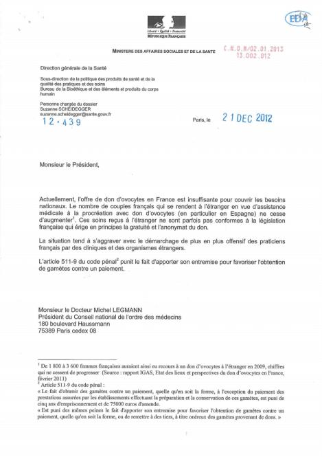 lettre dgs don ovocytes