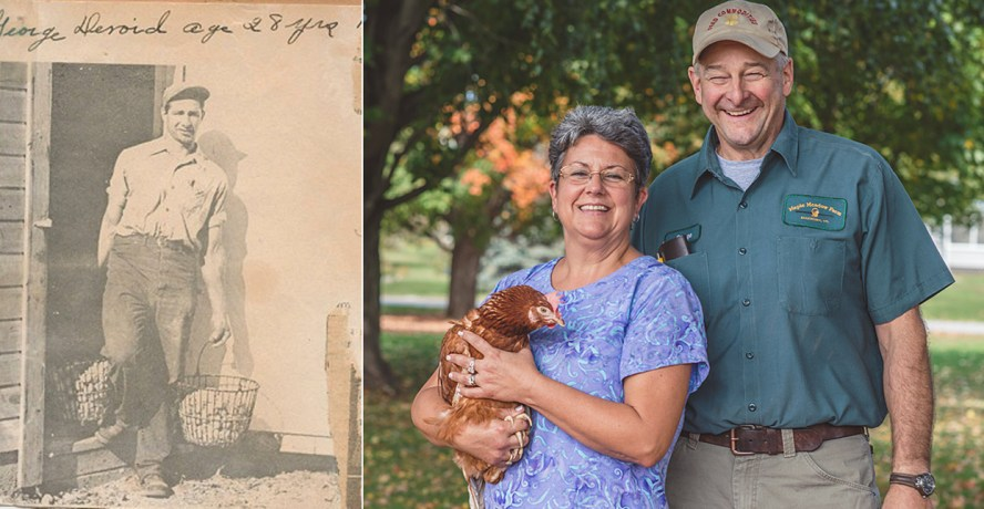Left: George C. emerging from the original hen house. Right: The son and his wife, George and Jackie with one of their Rhode Island Reds