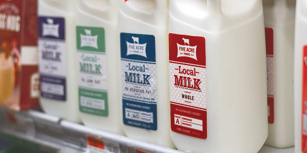 Five Acre Farms Milk on the shelf