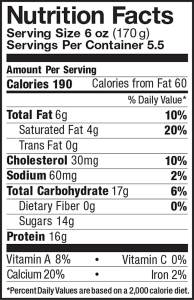 Whole Milk Greek Yogurt Maple 32oz Nutrition Facts