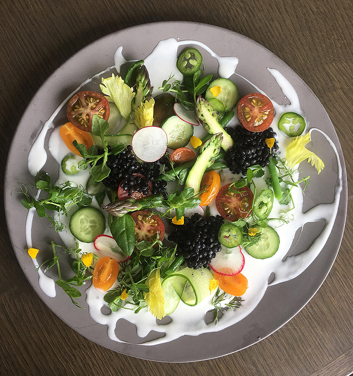 kefir-salad From the KITCHEN: SUMMER VEGETABLE SALAD WITH LENTILS AND FIVE ACRE FARMS HONEY KEFIR