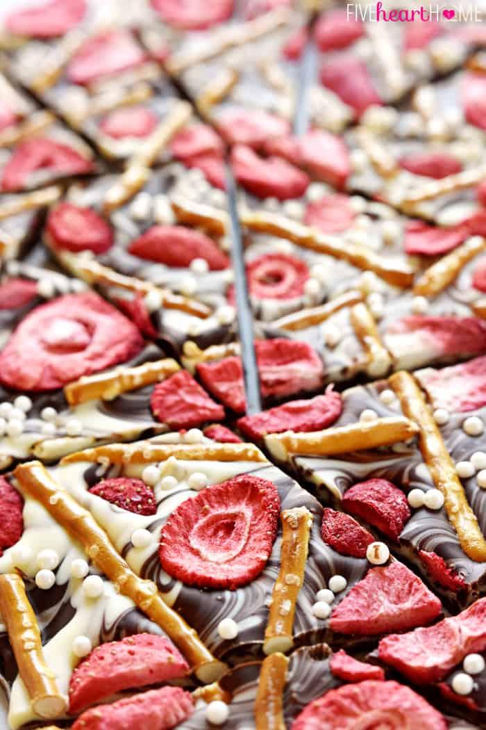 Strawberry Pretzel Chocolate Swirl Bark