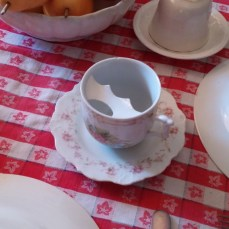 Check out this tea cup--keeps the drink off the mustache!