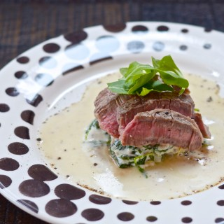 Oven Roast Ribeye for Two with Healthier Creamed Spinach and Arugula