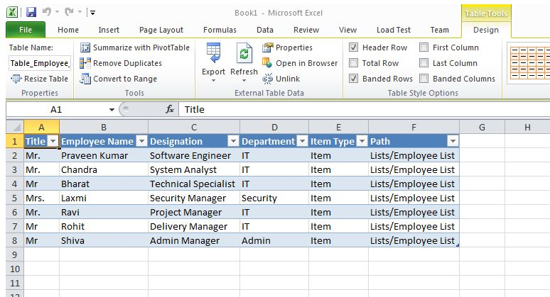 Connecting an Excel SpreadSheet to SharePoint 2010 list