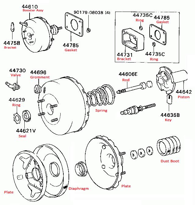 Mitsubishi brake booster spare repair kits