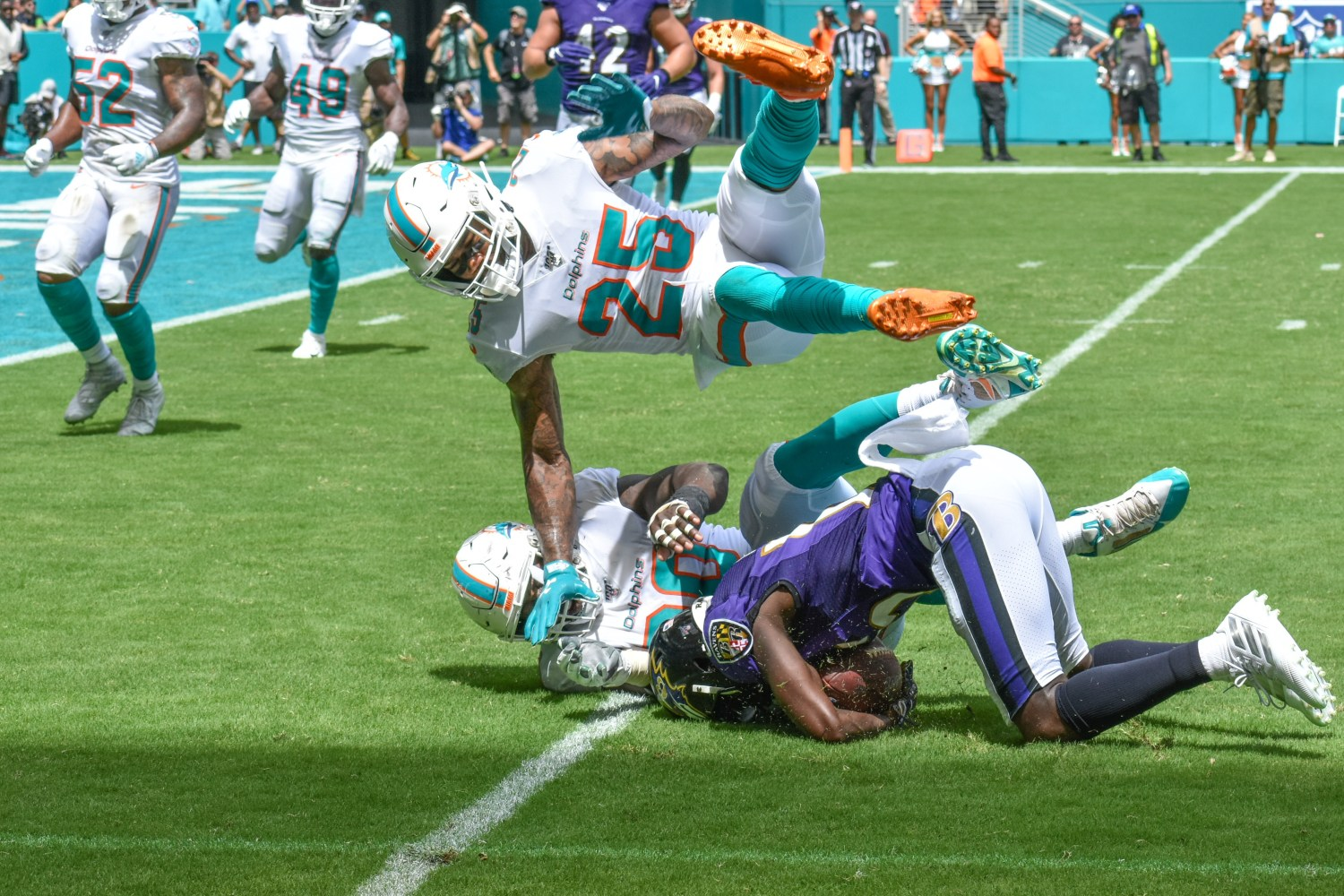 Xavien Howard and the Dolphins fell hard against the Ravens. (Tony Capobianco for Five Reasons Sports)