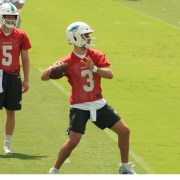 Dolphins quarterback Josh Rosen looks for a receiver during the third week of OTAs. (Craig Davis for Fiveresonssports.com)