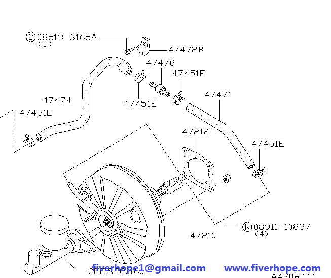 Vacuum booster 47210-05B00 47210-17B01 NISSAN MICRA 1982