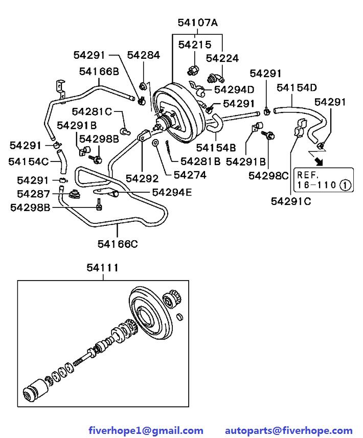 Brake servo MB407041 MR475130 MITSUBISHI L300 09.1986