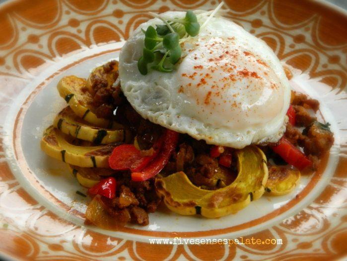 Roasted Delicata Squash with Chorizo Recipe | Five Senses Palate