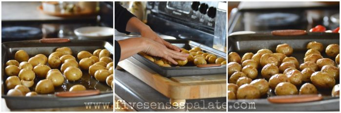 Smashed DYPs with Roasted Garlic & Sweet Peppers Recipe   Five Senses Palate