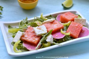 Watermelon Salad with Lemon-Tequila Dressing Recipe |Five Senses Palate