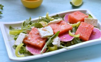 Watermelon Salad with Lemon-Tequila Dressing Recipe |Five Senses Palate
