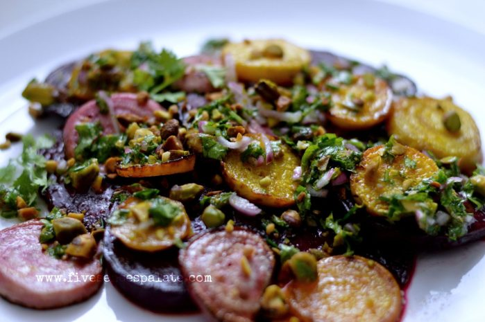 Beets with Orange-Cilantro-Mint Dressing and Pistachios Recipe | Five Senses Palate