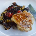 Braised Chicken Thighs with Roasted Vegetables Black Rice + how I keep myself ahead of the game on a weeknight