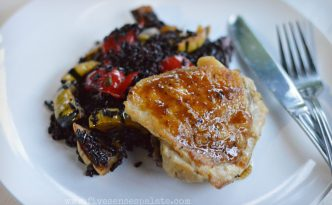 Braised Chicken Thighs with Roasted Vegetables Black Rice | Five Senses Palate